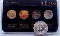 "Germany - 2 Euro coins 2012 ""Precious Metals"" (4 different coins), refined + medal ""BitCoin"""