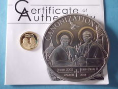 Tanzania - 1000 Shillings 2014 + 1500 Shillings 2014 'John XXIII & Paul II' - silver and gold
