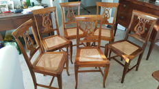Six Italian walnut cane bottom chair in Chippendale style - 1990