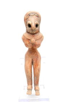 Indus Valley Terracotta Seated Female Fertility Idol  / Figurine  - 113mm