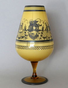 Murano - Large cup on foot with an illustration of Venice