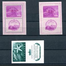 Trieste B 1950/52 – Railroads and Philatelic Exhibition sheets – Sass. No. 1A/2 and 3.