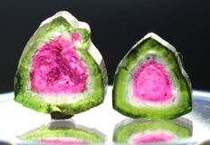 Pair of Perfect Watermelon Tourmaline Slices Lot - 10.20 cts (2)