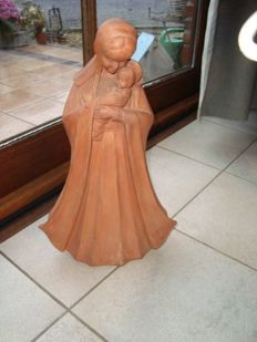 Terracotta Madonna with child