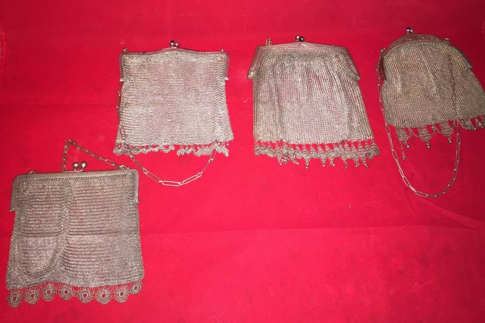 Lot of 4 mesh bags made in ancient silver