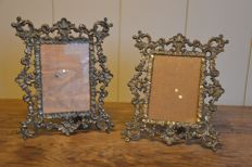 Pair of brass photo frames - Depose Italy - 2nd half of 20th century