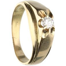 14 kt - Yellow gold ring set with 1 brilliant cut diamond of approx. 0.17 ct in total - Ring size: 16.5 mm