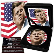 United States - Dollar 2017 'Silver Eagle / John F. Kennedy' with colour - 1 oz silver