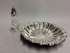 Silver plated cake serving tray with a crystal sugar caster, ca. 1940