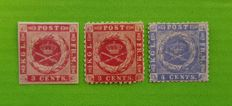 Danish West Indies 1866/73 - Facit 2, 4  Coat of Arms  3¢, 3¢ and 4¢