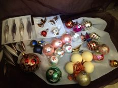 Antique Christmas decorations - Glass Christmas baubles - 43 Pieces