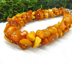 Egg yolk Butterscotch  Baltic Amber necklace, ca. 87 grams, not pressed, not modified, 87 gr