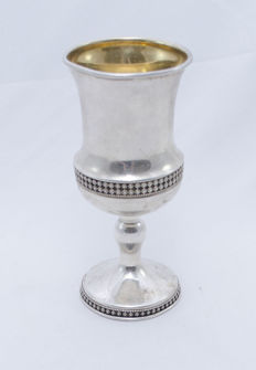 A silver and silver gilt Kiddush cup - in Art Deco style - Israel - circa 1960