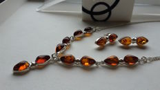 Set - Necklace & Earrings - natural Baltic amber - zilver 925 - no pressed - UV test