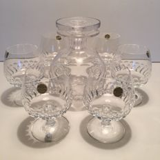 Schott Zwiesel Christinenhütte - cut crystal cognac carafe with 6 glasses