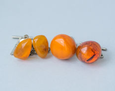 Two pair of natural Baltic Amber cuff links, natural cognac/honey colour Amber