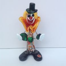 Murano - clown with orange bow with sticker