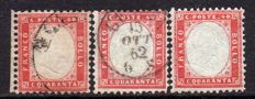 Italy, Kingdom, 1862 – Lot of three 40 cent values – Sass. No.  3, 3d.