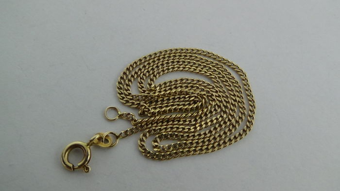 14 kt Gold Curb Link Necklace - Length: 46 cm