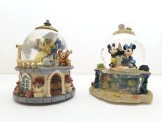 Disney, Walt - 2 Snowglobes/Musicboxes - Beauty and the beast + Mickey & Minnie Mouse