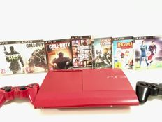 Sony Playstation 3 (red limited version) with 7 games