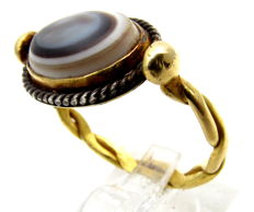 Ancient Roman Gold Ring with Agate Stone  (Historical Gift) - 23mm
