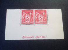 France 1925 – Paris International Philatelic Exhibition, including broken value cartouche type, signed and certified Calves – Yvert no. 216 and 216b