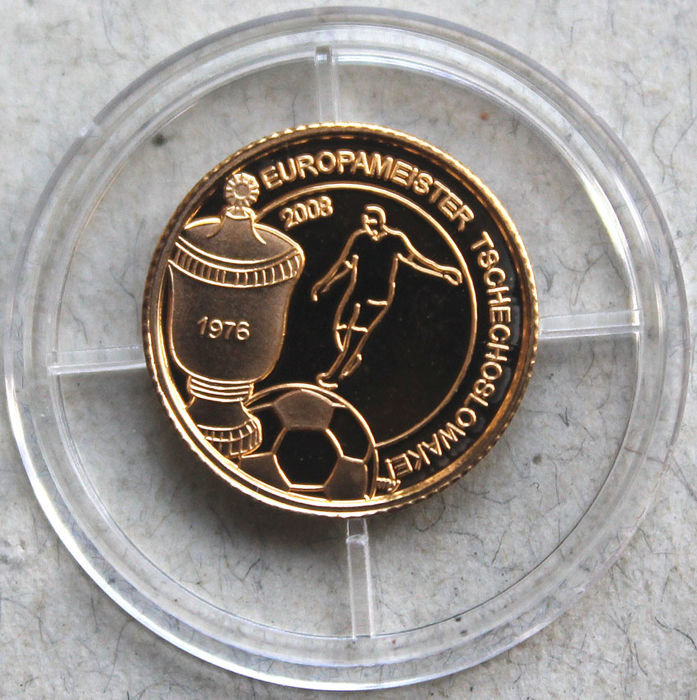 Liberia - 10 dollar 1976 'European Champion Czechoslovakia' - 1/25 oz gold