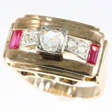 Strong design unisex vintage Diamond And Ruby Retro Ring - Free Resizing