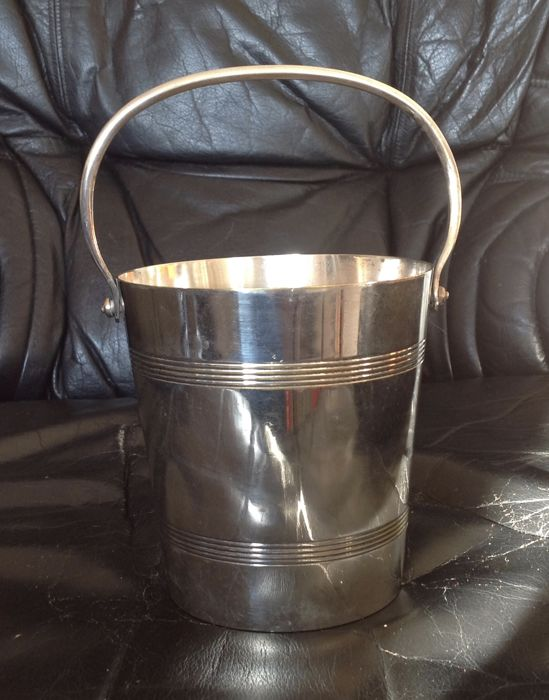 Small ice bucket - silver plated metal - 1960