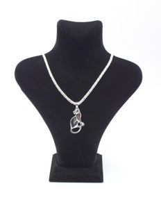 925 Italian sterling silver chain with Tiger pendant - 60 cm