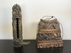 Wooden Balinese case and musical instrument / phallic symbol - Bali, Indonesia - 2nd half 20th century