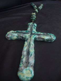 Blue Clay Rosary Hand Painted