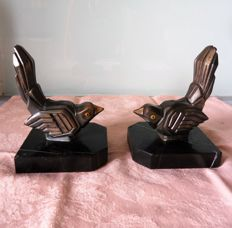 Pair of book ends in Babbitt on marble signed Hyppolyte Moreau