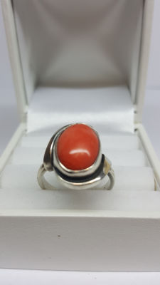 925 silver vintage women's ring set with Mediterranean precious coral, size 17.25