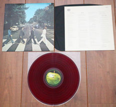The Beatles- Abbey Road lp/ 1st Japanese pressing, 1969, RED wax, w. original black inner & lyric insert/ VG+