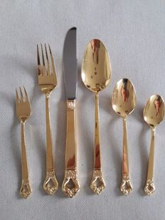 Beautiful, 40-piece unusual gold plated cutlery - cutlery for 4 people with coffee cutlery for 9 people