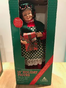 Two Porcelain Christmas Dolls  - musical and  moving