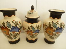 Cabinet set - Three piece Flora Gouda pottery Holland - Handcrafted