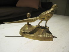 Sculpted Bronze Dish with Pheasant and Loupe on Deer Antlers