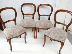 Four mahogany Biedermeier style dining room chairs, Holland, 2nd half of 20th century