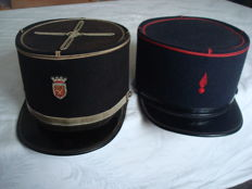 France; Lot of 2 x kepi caps, mining sector/fire service of the French army from ca.1960/1980, 20th century