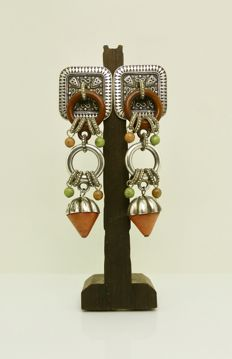 Early to mid XX century Chinese long drop earrings silver and clay