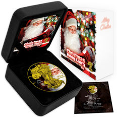 USA - $1 - US Mint - 1 oz 999 silver coin - American silver eagle 2016 - Christmas special - gilded + colour with box & certificate - Edition of 500 pieces