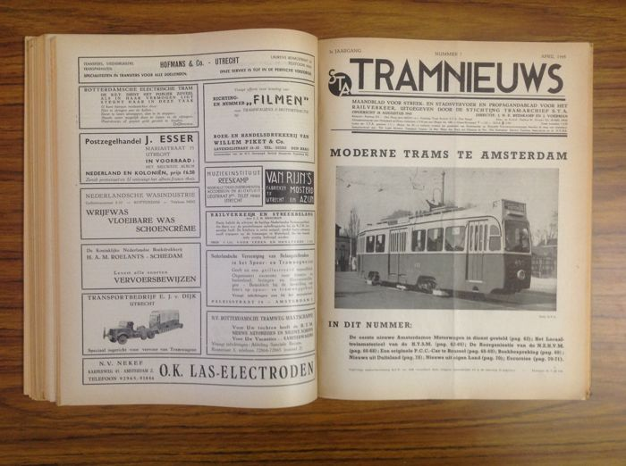 Tram, Train & bus/coach - Lot with 4 volumes about 'Streek en Stadsvervoer' - 1945 / 1954