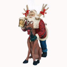 Very nice statuette of a Santa Claus with Rudolph the Reindeer