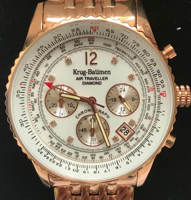 Krug Baümen, traveller's timepiece, diamonds and gold - never worn wristwatch