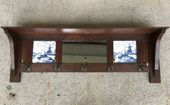 Art Deco Tegels : Oak art deco coat rack with mirror and delft blue tiles catawiki