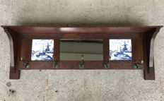 Oak Art Deco Coat Rack with Mirror and Delft Blue Tiles