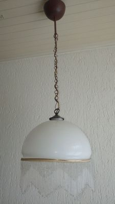 Beautiful opaline pendant light with beaded shade